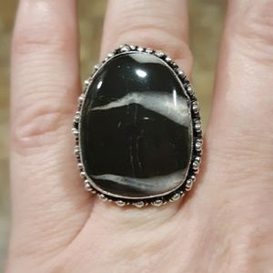 New Black Septarian (Dragon Stone) Silver Ring